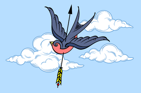 Swallow in the sky, pierced by an arrow