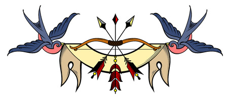 Bow and arrows on the background of the banner that holds the swallows Illustration