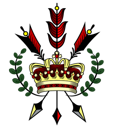 Golden crown with arrows against the background of laurel branches, coat of arms 일러스트