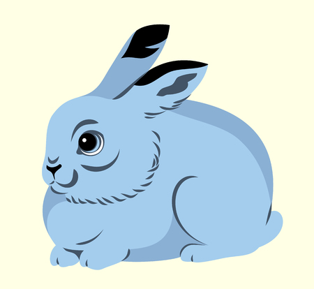 Portrait of a gray rabbit Illustration