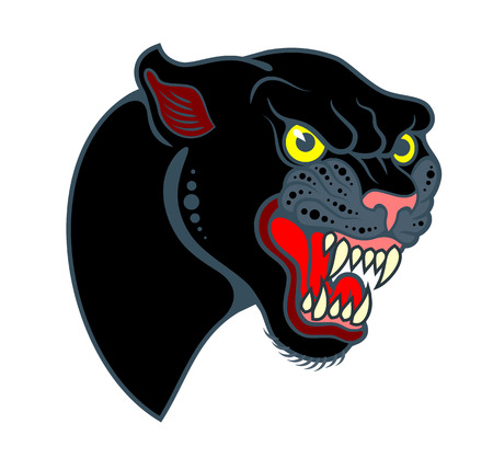 Portrait of a grinning Panther in the old school style