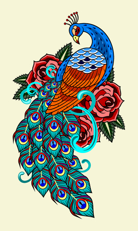 Peacock and roses, old school tattoo image. Stock Illustratie