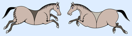 image of a pair of horses Vector illustration.  イラスト・ベクター素材