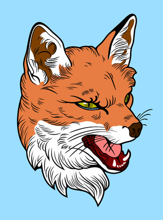 Portrait of a faded fox in the old cheek tattoo style