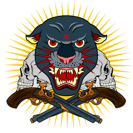 Portrait of a grunted panther in an old skull tattoo style Illustration