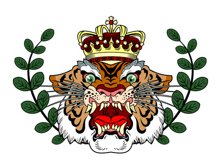 the head of a maliciously roaring tiger Stock Illustratie