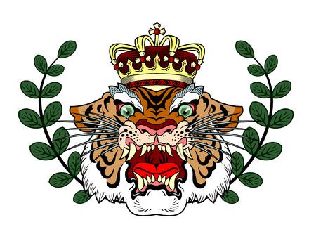 het hoofd van een kwaadwillig brullende tijger