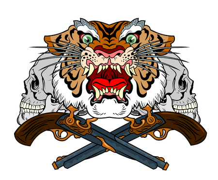 the head of a maliciously roaring tiger Illustration