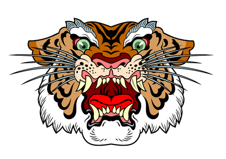 the head of a maliciously roaring tiger  イラスト・ベクター素材