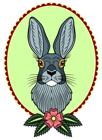 Portrait of a rabbit in a vintage style