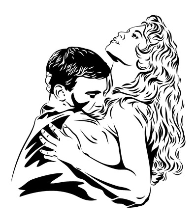 beautiful couple in love embraces