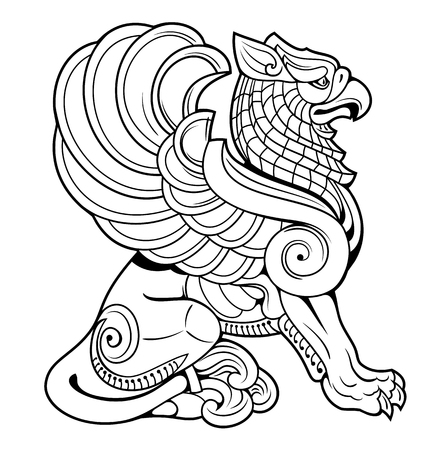 vector drawing of a sitting griffin