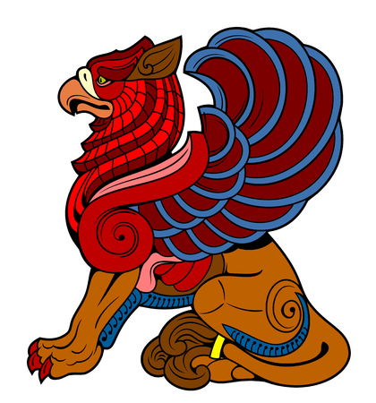 vector drawing of a sitting griffin Banque d'images - 102850075