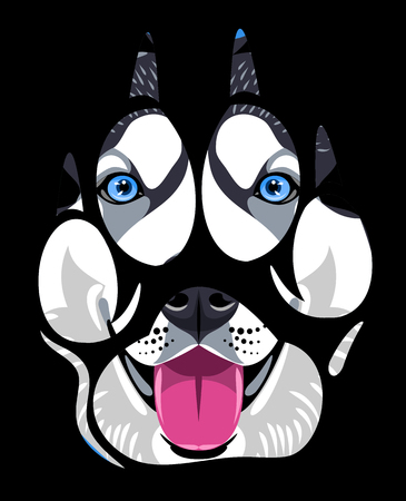 muzzle of a husky dog ??in a paw print Illustration