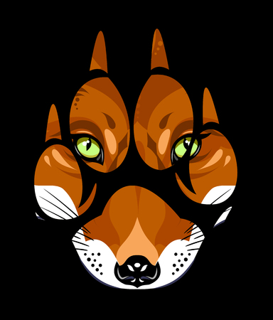 muzzle of a fox in a paw print  イラスト・ベクター素材