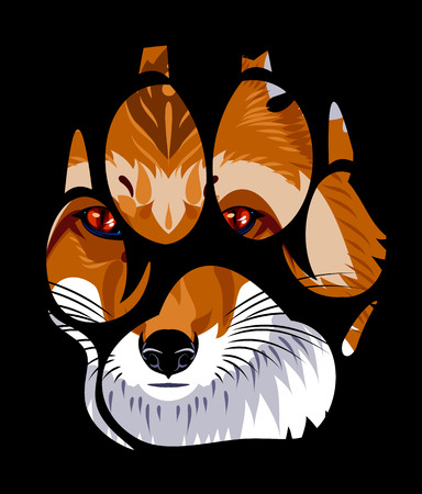 muzzle of a fox in a paw print Illustration