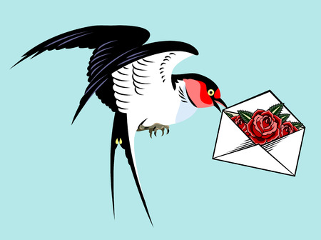 Swallows carrying a the envelope. Old school tattoo style Illustration
