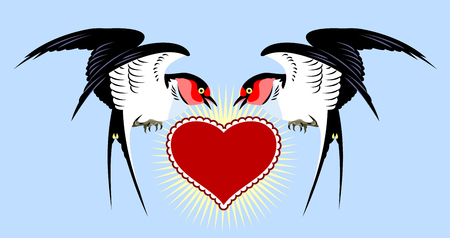 Swallows carrying a heart. Old school tattoo style