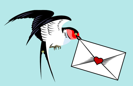 Swallows carrying the envelope. Old school tattoo style