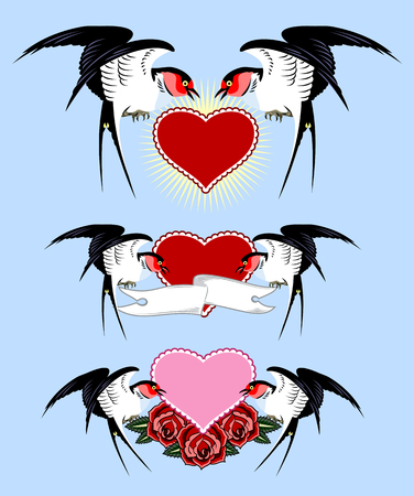 Swallows carrying a heart and banner. Old school tattoo style 写真素材 - 103863936