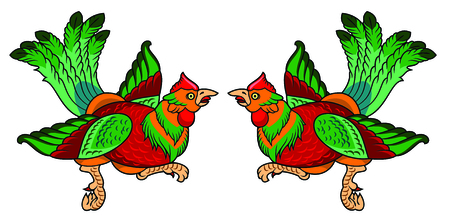 a pair of beautiful birds with long tails
