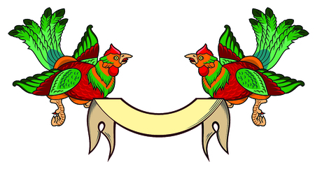 a pair of beautiful birds with long tails and a banner