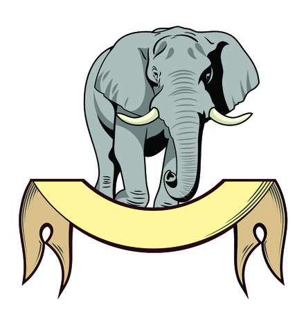 The majestic elephant and banner