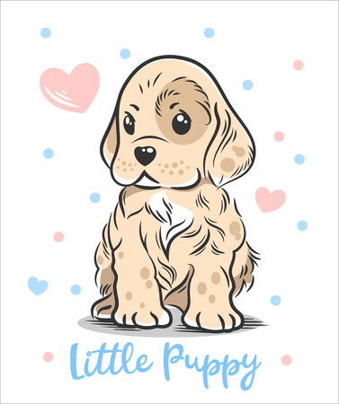 Vector illustration of a cute, funny Baby puppy spaniel 스톡 콘텐츠 - 106926700