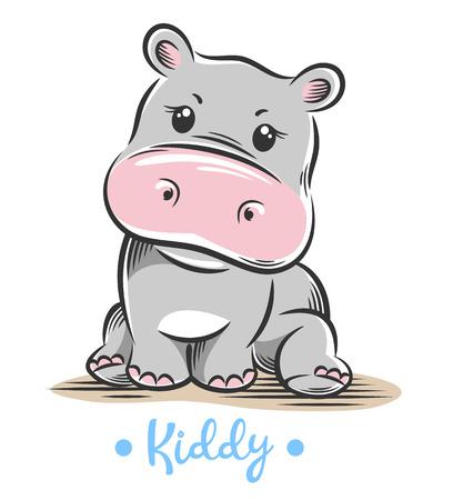 Ilustracja wektorowa słodkiego, zabawnego dziecka małego hipopotama