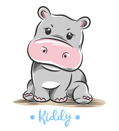 Vector illustration of a cute, funny Baby little hippo 写真素材 - 106926701