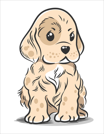 Vector illustration of a cute, funny Baby puppy spaniel