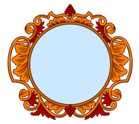 Ancient frame with floral ornament in the style of engraving