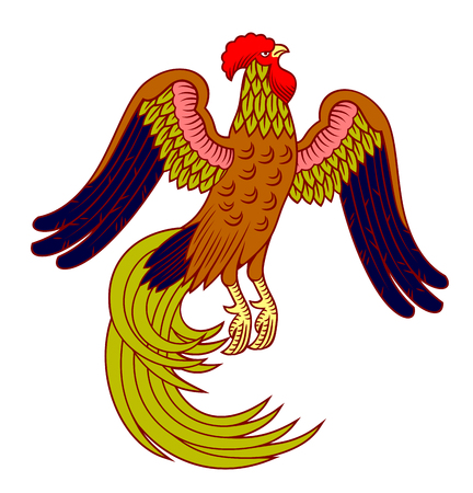 An image of a cock with a long tail in the style of engraving 写真素材 - 106926706