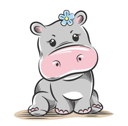 Ilustracja wektorowa słodkiego, zabawnego dziecka małego hipopotama Ilustracje wektorowe