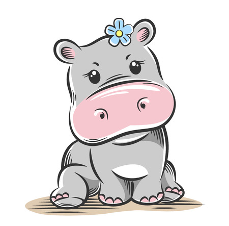 Vector illustration of a cute, funny Baby little hippo