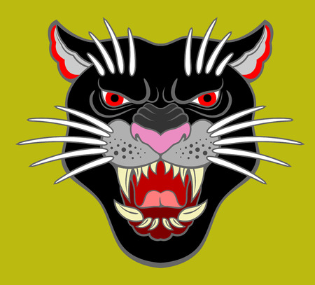 Image of a black panther, with a grinning mouth. Drawing in the style of Old School tattoo 写真素材 - 107671439