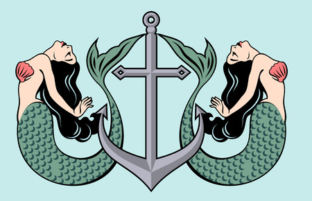 The image of a mermaid in the traditional style of Old school tattoo pin-up Illustration