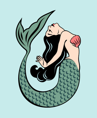 The image of a mermaid in the traditional style of Old school tattoo pin-up 写真素材 - 110171259