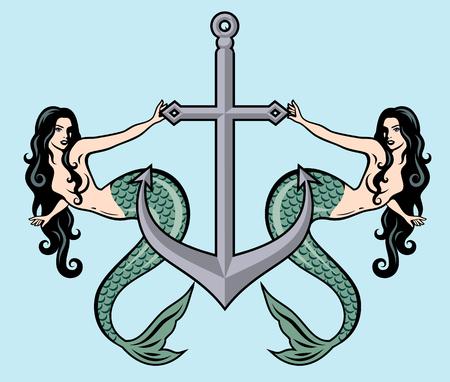 L'image d'une sirène dans le style traditionnel de la pin-up de tatouage Old school