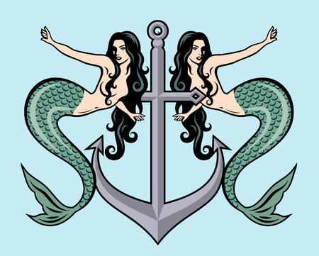 Das Bild einer Meerjungfrau im traditionellen Stil des Old School Tattoo Pin-Ups Vektorgrafik