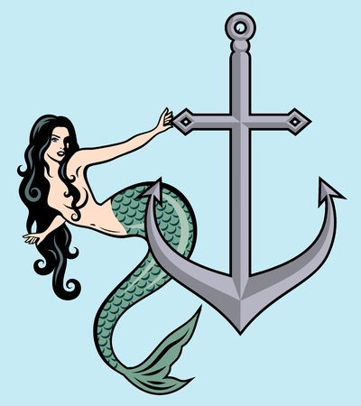 The image of a mermaid in the traditional style of Old school tattoo pin-up 写真素材 - 110171264
