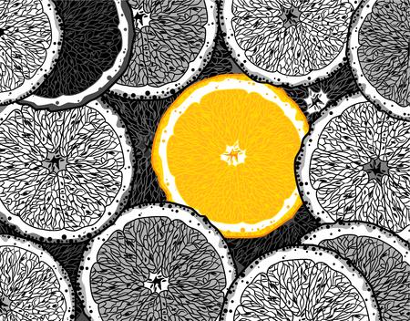 Tranches d'oranges noires et blanches et une orange juteuse parmi elles, dessinant à la main