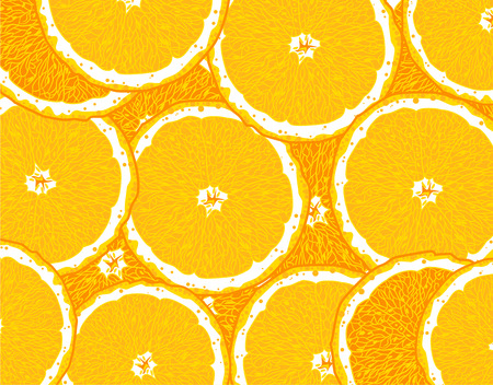 Slices of sliced ??ripe oranges, hand drawing Illustration