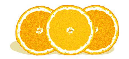 Bright, juicy oranges in a cut Illustration