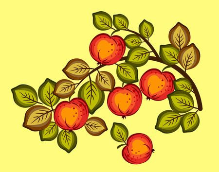 red, ripe apples on the branches Illustration
