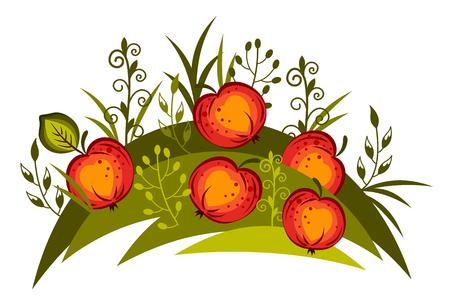 ripe red apples fallen on the grass Illustration
