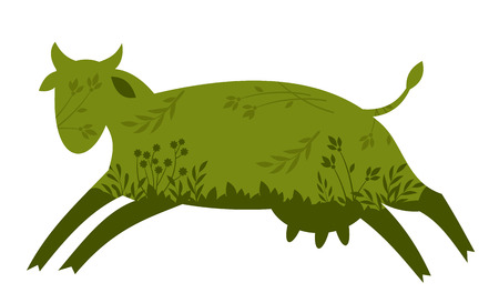 abstract image of a fun green cow Illustration