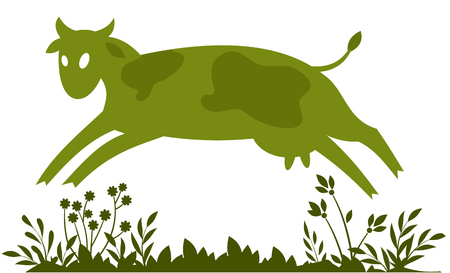 abstract image of a fun green cow Çizim
