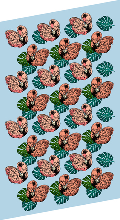 Background with torpic leaves and flamingos