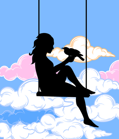 Silhouette of a girl sitting on a swing among the clouds
